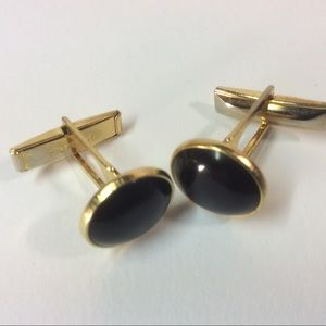 Pioneer Cuff Links with black stone, gold tone.